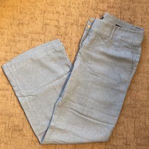 Ann Taylor Loft Blue Linen Pants Marisa Trouser 10